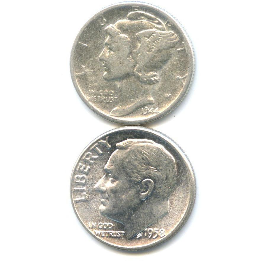 Набор монет 10 центов (дайм) 1944, 1958 (США)