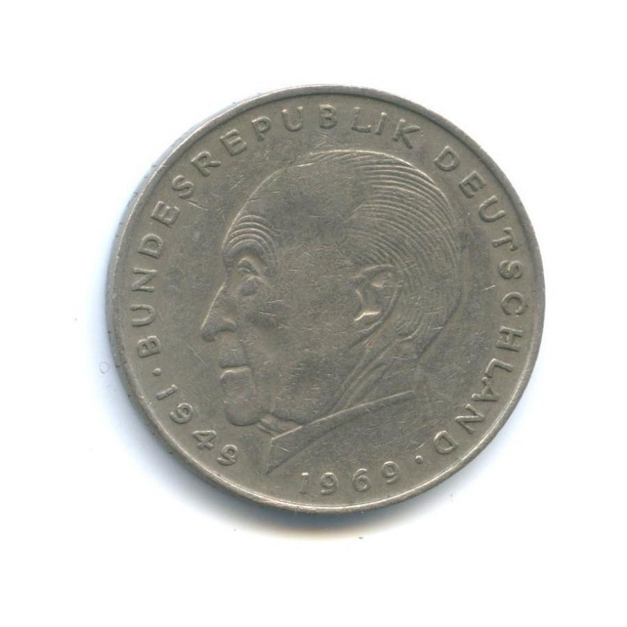 2 марки — Конрад Аденауэр, 20 лет Федеративной Республике (1949-1969) 1970 года D (Германия)