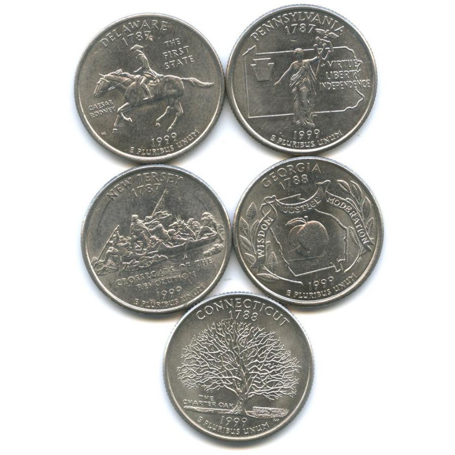 Набор монет 25 центов (квотер) - Штаты итерритории 1999 года P, D (США)