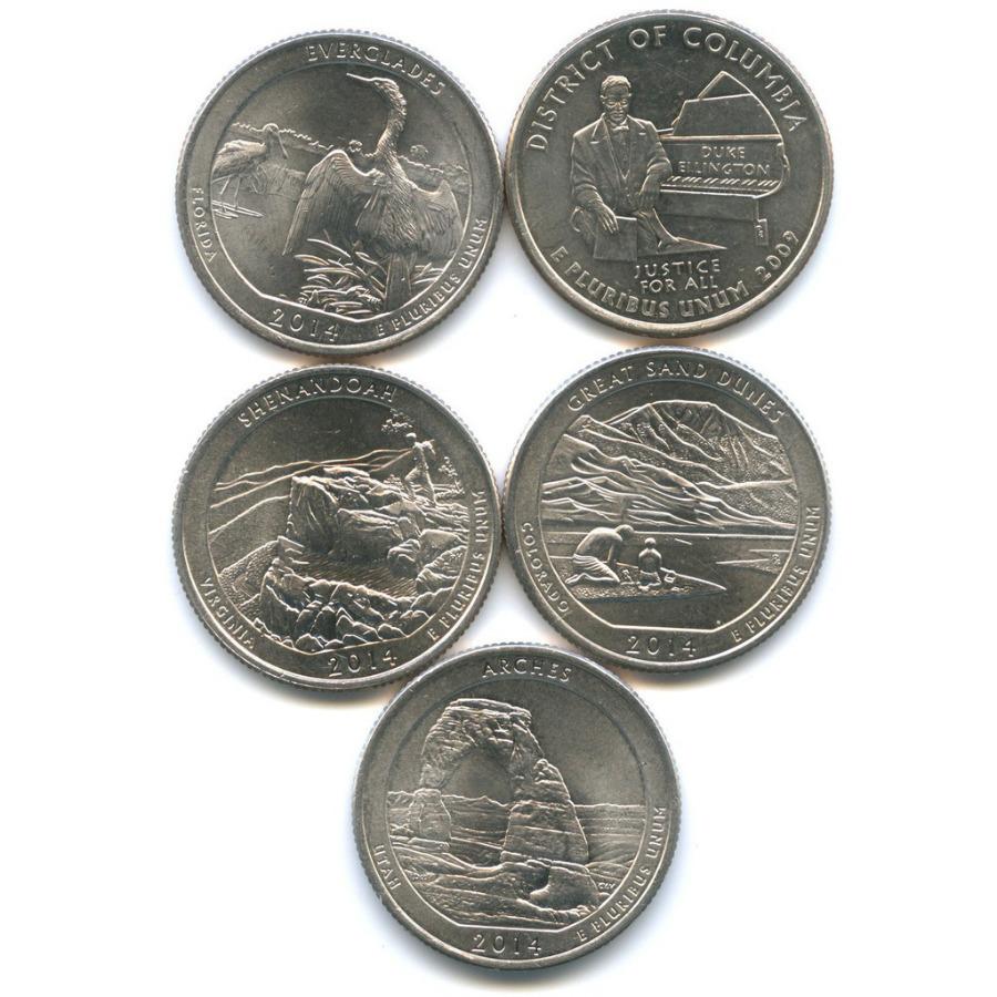 Набор монет 25 центов (квотер) - Штаты итерритории, парки 2009, 2014 P, D (США)
