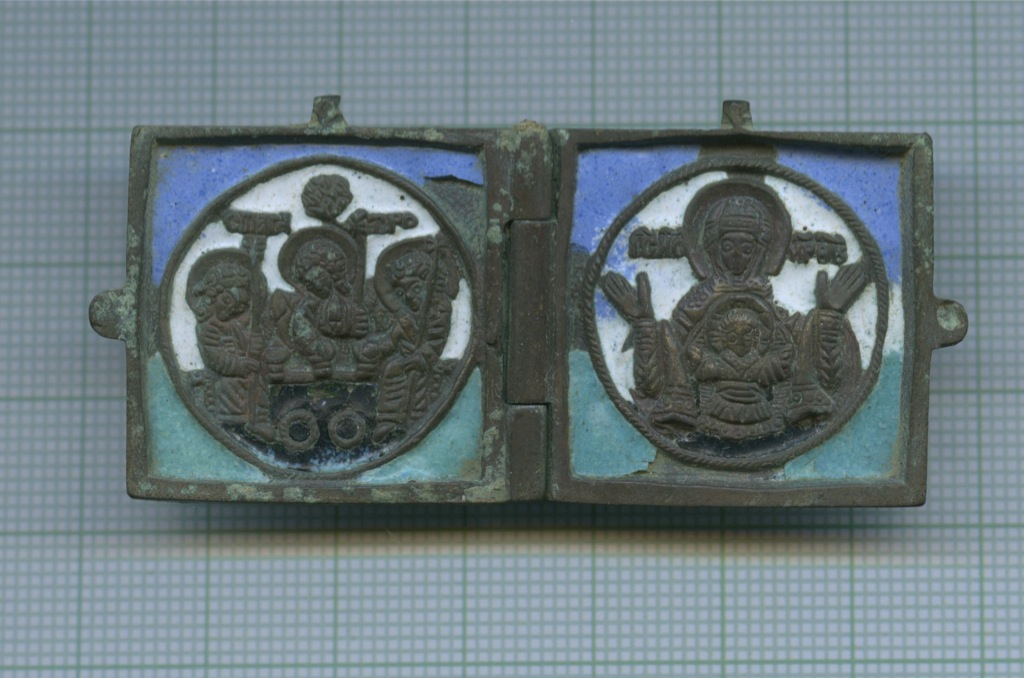 Складень Ветхозаветная троица -Б. М. Знамение, клеймо мастера Л. Е. (4 эмали)
