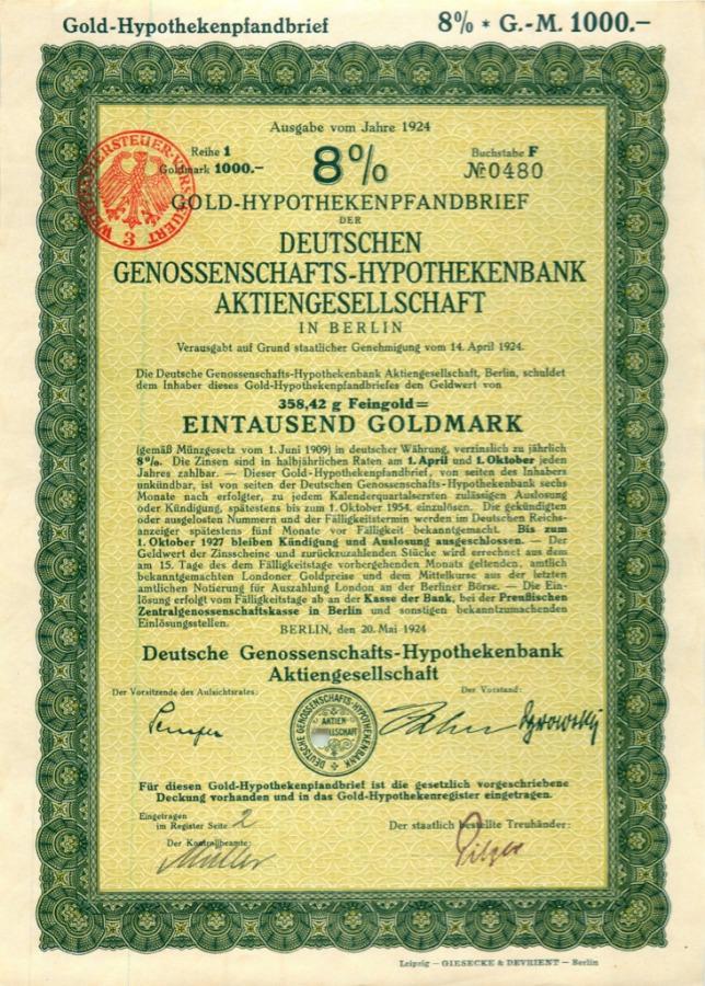1000 марок (акция) 1924 года (Германия)