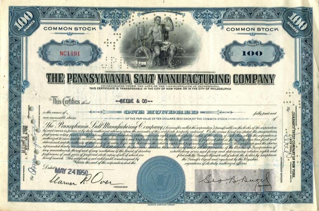 100 акций «The Pennsylvania Salt Manufacturing Company» 1950 года (США)