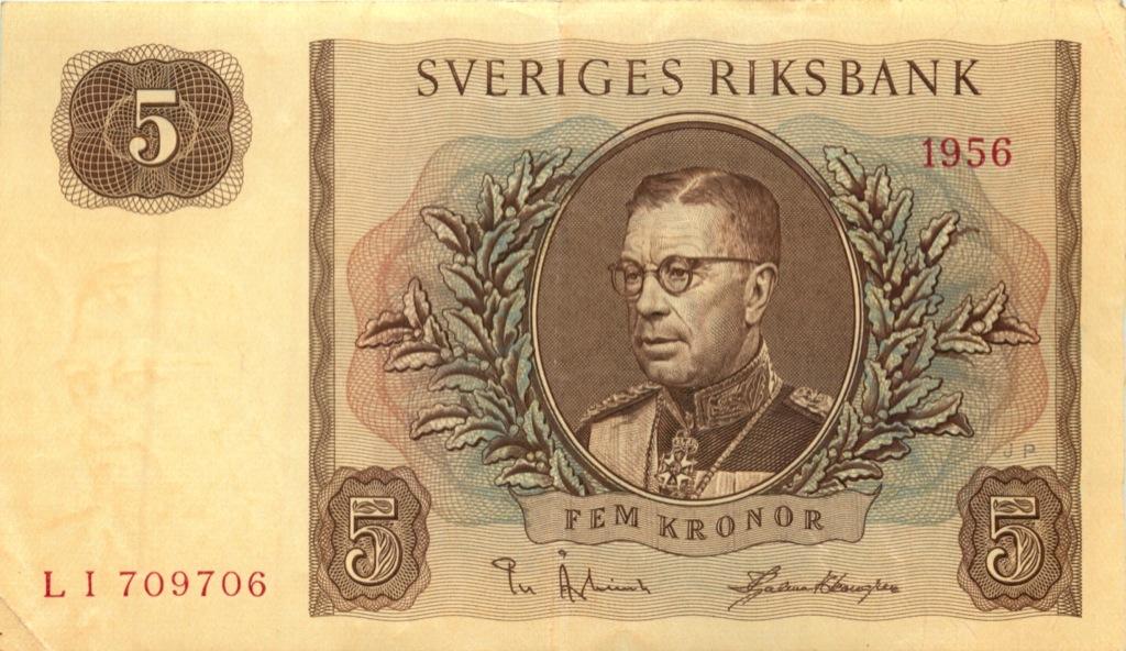 5 крон 1956 года (Швеция)