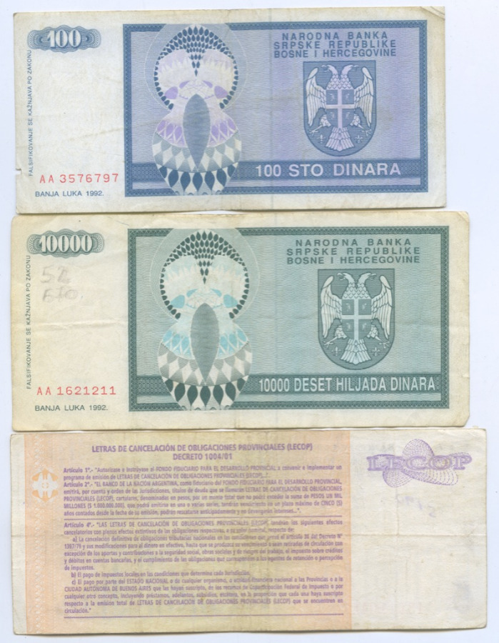 Набор банкнот (Босния иГерцеговина, Аргентина) 1992, 2006