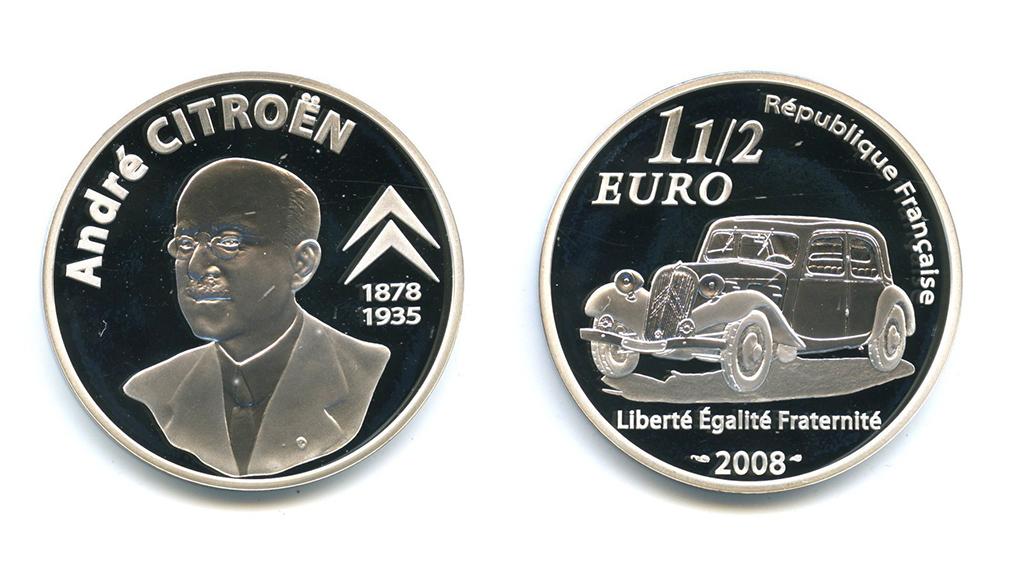 1 1/2 евро - Андре Гюстав Ситроен - создатель концерна «Citroën» (воригинальной коробке, ссертификатом) 2008 года (Франция)