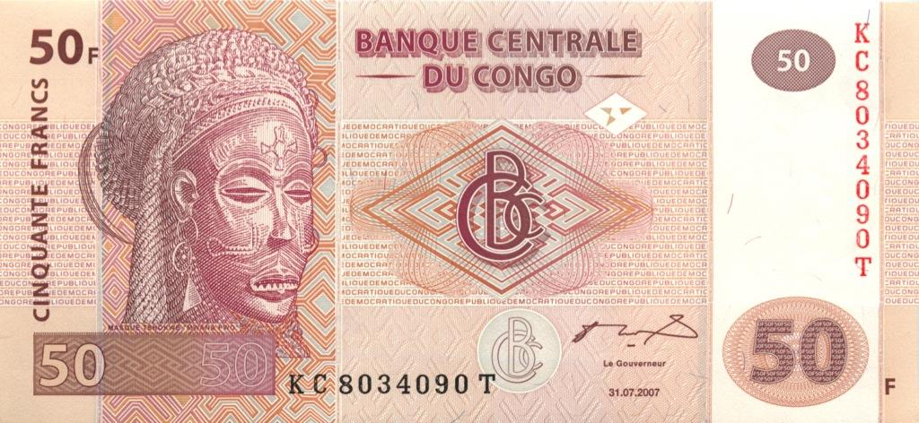 50 франков (Конго) 2007 года