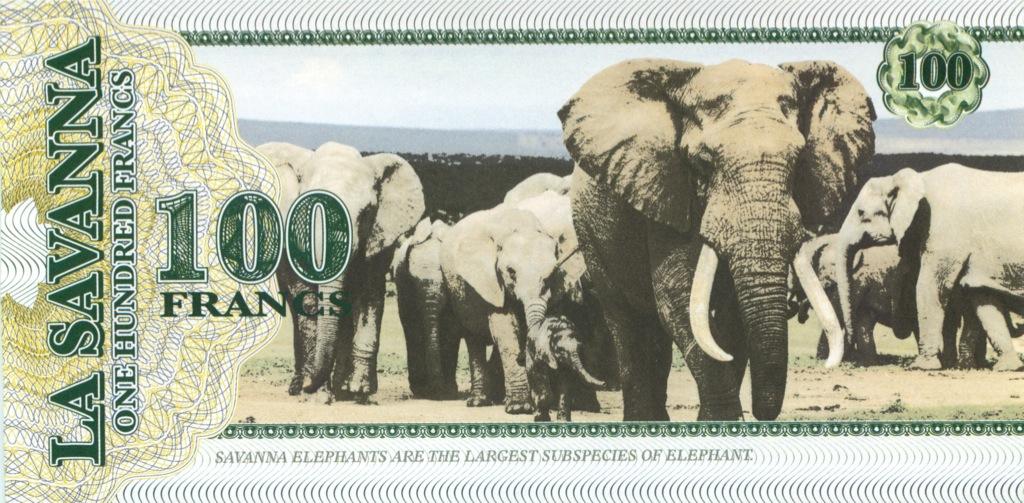 100 франков (Саванна) 2015 года