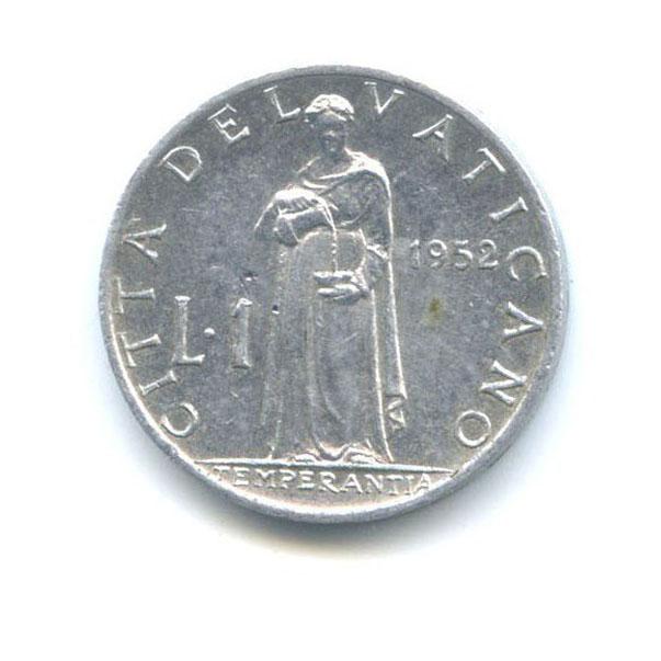 1 лира - Умеренность 1952 года (Ватикан)