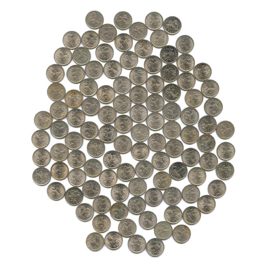 Набор монет 1 копейка (130 шт) 1997-2009 ММД, СПМД (Россия)