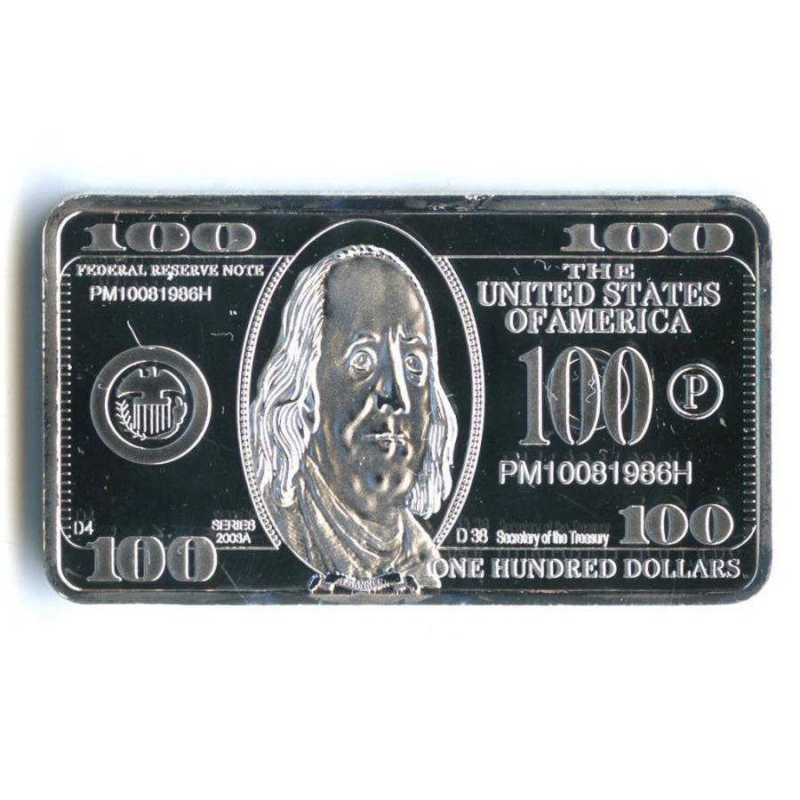 Жетон-слиток «100 долларов, США» (под серебро)