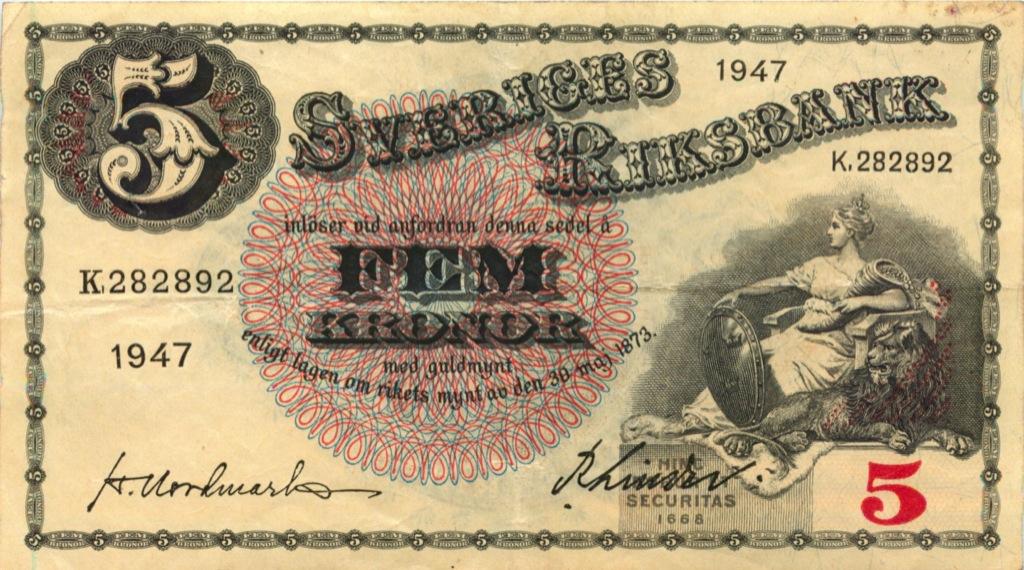 5 крон 1947 года (Швеция)