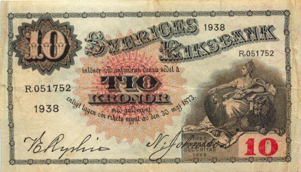 10 крон 1938 года (Швеция)