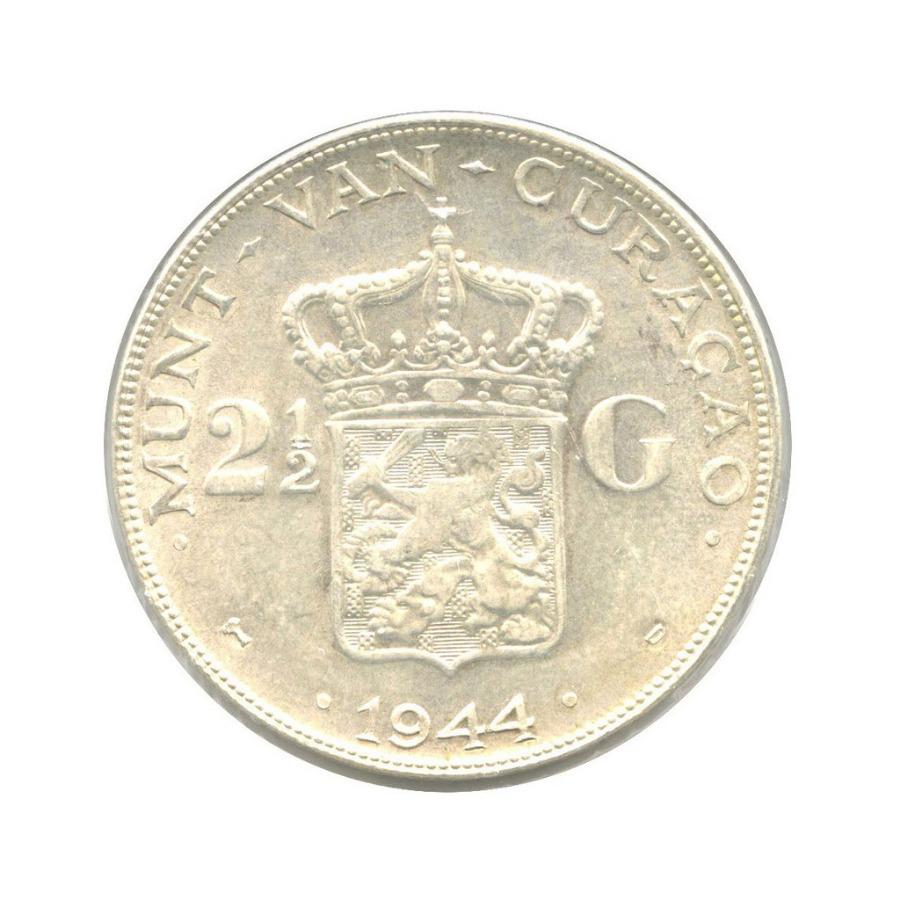 2½ гульдена - Вильгельмина королева Нидерландов, Кюрасао (вхолдере) 1944 года