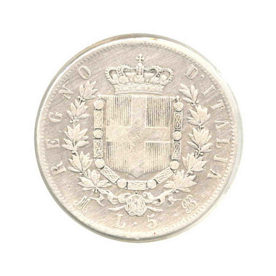 5 лир - Король Виктор Эммануил II (в холдере) 1870 года (Италия)