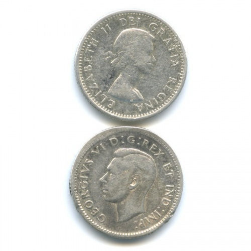 Набор монет 10 центов 1946, 1962 (Канада)