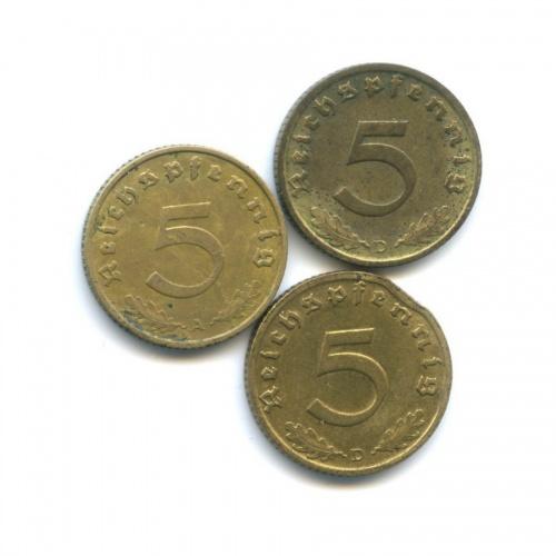 Набор монет 5 рейхспфеннигов 1937-1939 А, D (Германия (Третий рейх))