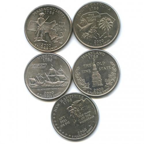 Набор монет 25 центов (квотер) - Штаты итерритории 2000 года P, D (США)