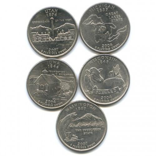 Набор монет 25 центов (квотер) - Штаты итерритории 2004, 2007 P, D (США)