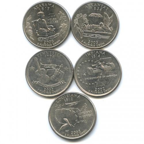 Набор монет 25 центов (квотер) - Штаты итерритории 2002, 2003 P, D (США)
