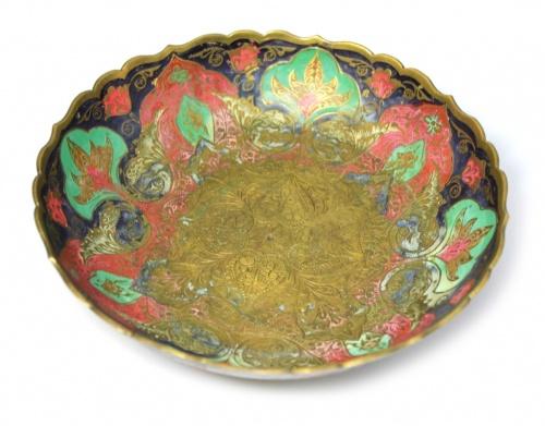 Чаша (роспись, эмаль, латунь), 6,5×20 см