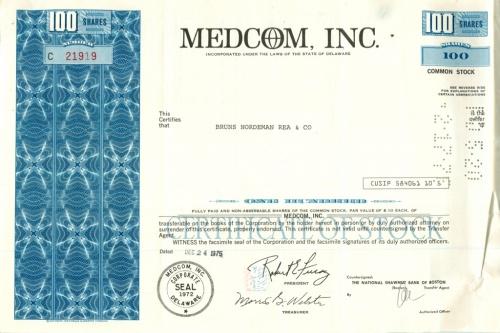 100 акций «Medcom, Inc» 1975 года (США)