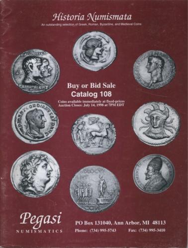 Каталог аукциона нумизматики №108 «Historia Numismata», 58 стр. 1998 года (США)