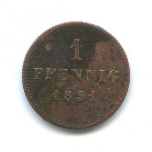 1 пфенниг, Саксония 1851 года
