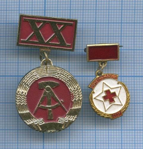 Набор знаков «20 лет ГДР», «Почетный донор СССР» (Германия, СССР)