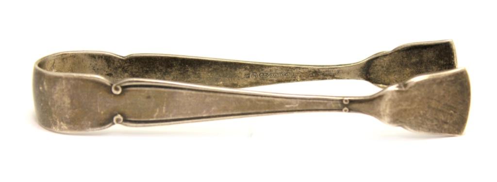 Щипцы для сахара (WELLNER PATENT, глубокое серебрение, клейма, до1917 г.), 11 см