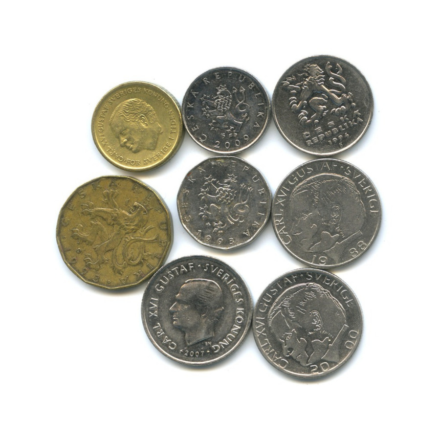 Набор монет (Чехия, Швеция)