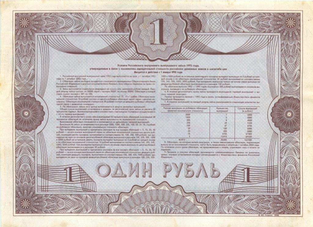 1 рубль (облигация) 1992 года (Россия)