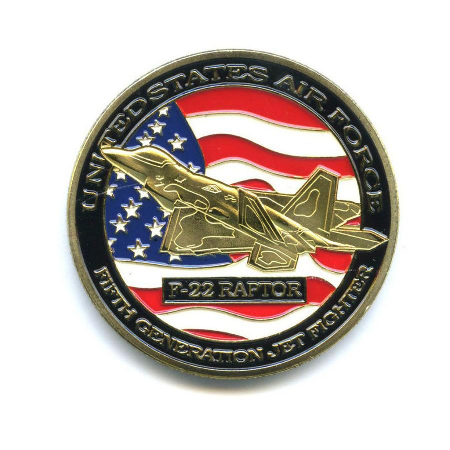Жетон «United States Air Force - F-22 Raptor» (вцвете, под золото)