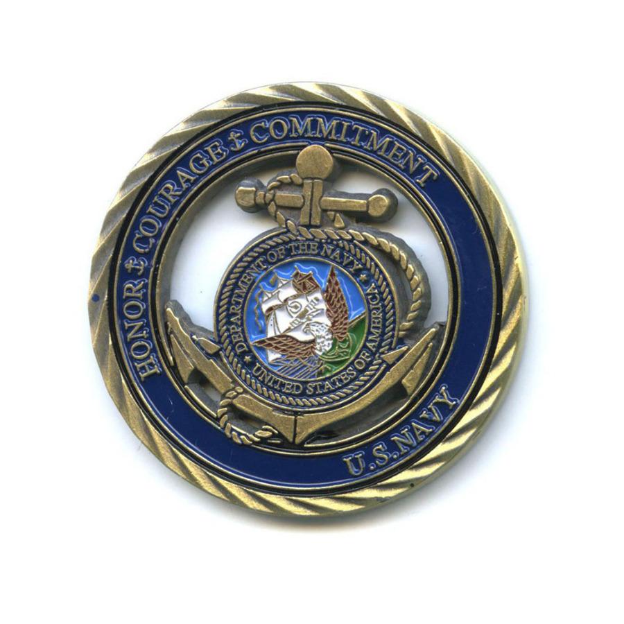 Жетон «Honor Courage Commitment U. S. Navy» (вцвете)