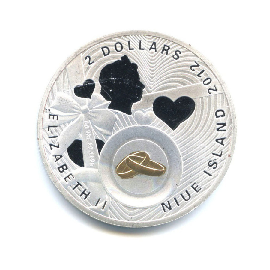 Жетон «2 доллара 2012 - Счастья илюбви» (вцвете, под серебро)