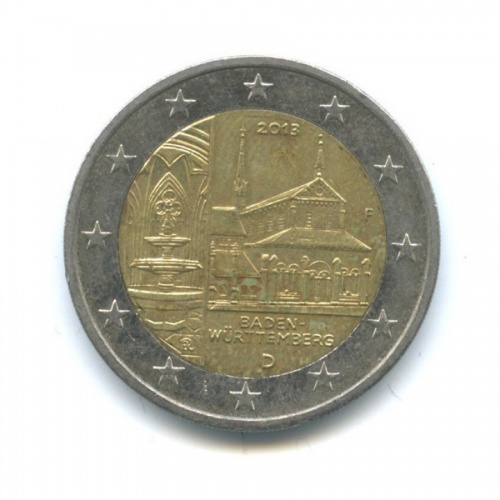2 евро — Федеральные земли Германии - Монастырь Маульбронн, Баден-Вюртемберг 2013 года F (Германия)