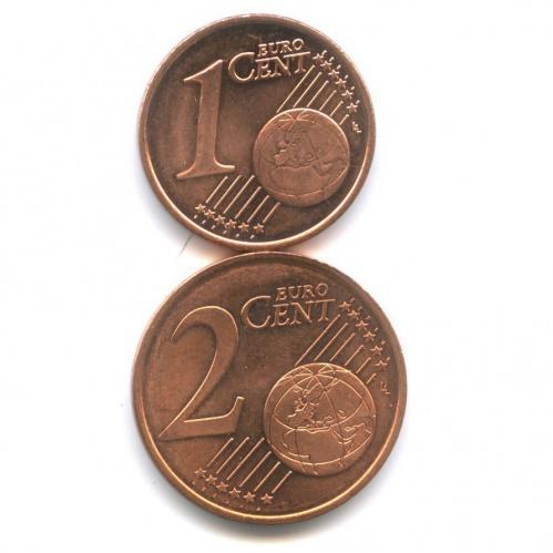 Набор монет 1 цент, 2 цента 2003 года (Финляндия)