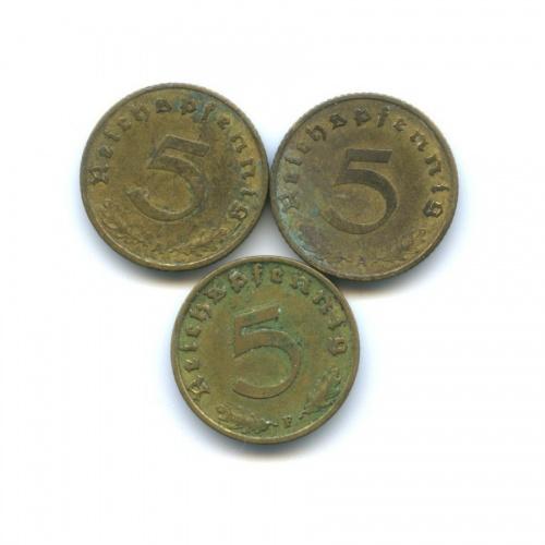 Набор монет 5 рейхспфеннигов 1937-1939 (Германия (Третий рейх))
