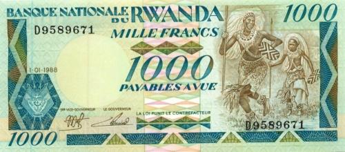 1000 франков (Руанда) 1988 года