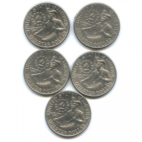 Набор монет 25 центов (квотер) — 200 лет независимости США 1976 года (США)
