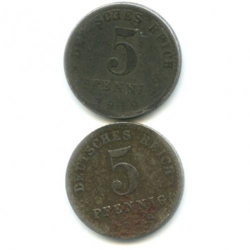 Набор монет 5 пфеннигов 1918, 1919 (Германия)