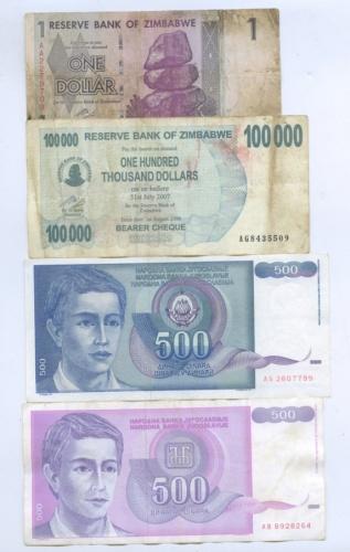 Набор банкнот (Югославия, Зимбабве)