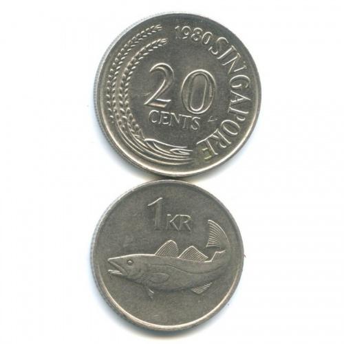 Набор монет (Исландия, Сингапур) 1980, 1981