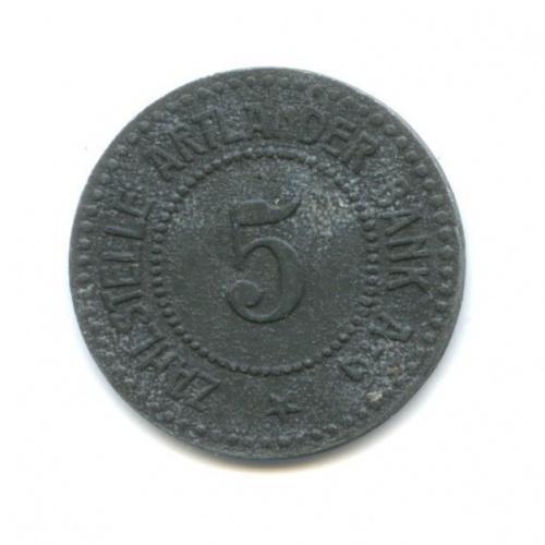 5 пфеннигов, Квакенбрюк (нотгельд) 1917 года (Германия)