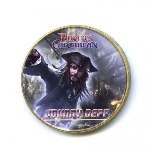 Жетон «Джонни Депп - Пираты Карибского моря» (вцвете, под золото)