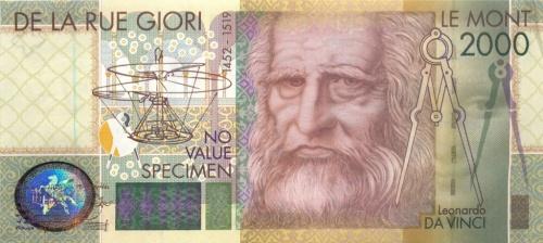 Банкнота тестовая - Леонардо ДаВинчи, De La Rue 2000 года (Великобритания)