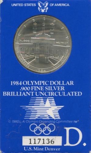 1 доллар — XXIII летние Олимпийские Игры, Лос-Анджелес 1984 1984 года D (США)