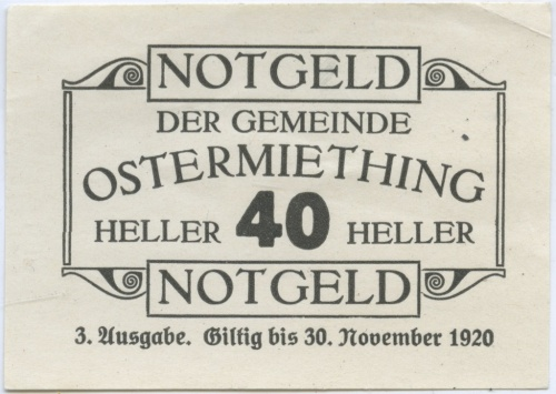 40 геллеров (нотгельд) 1920 года (Австрия)