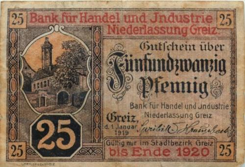 25 пфеннигов (нотгельд) 1919 года (Германия)