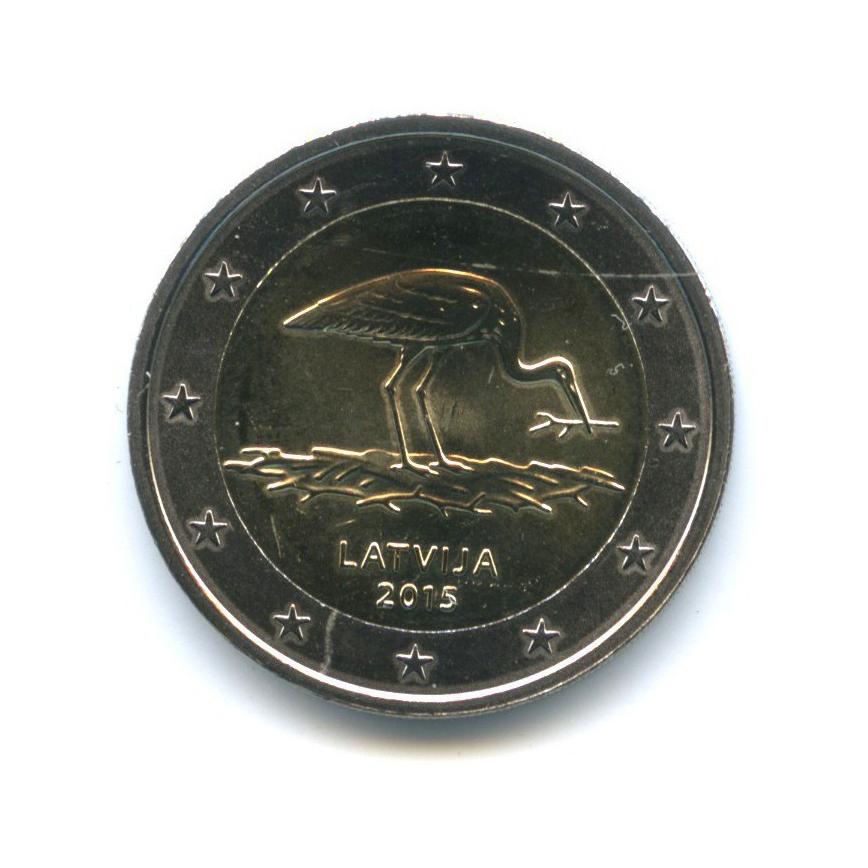 2 евро - Природа вопасности - Чёрный аист 2015 года (Латвия)